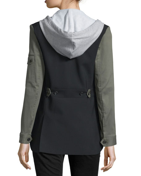 Colorblock Wool-Blend Jacket, Black/Army