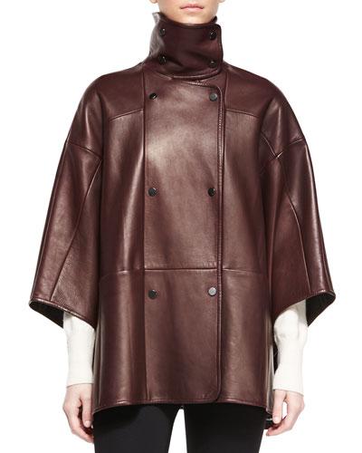 Double-Breasted Leather Cape, Shiraz