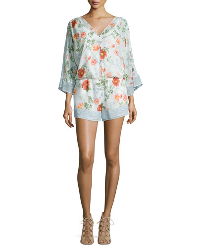Kiora Floral Silk Georgette Jumpsuit, Porcelain