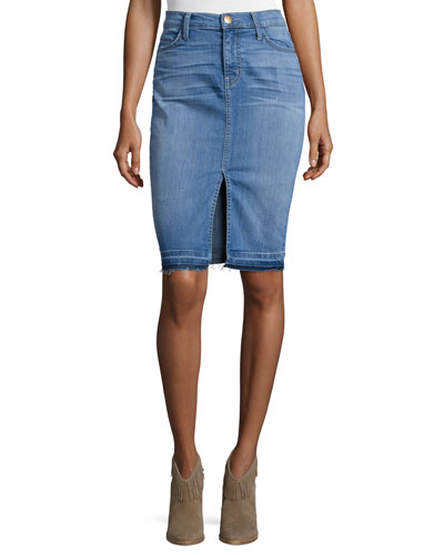 The High-Waist Denim Pencil Skirt, Island Hopper