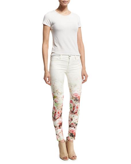 Mid-Rise Super-Skinny Floret Jeans, Floral