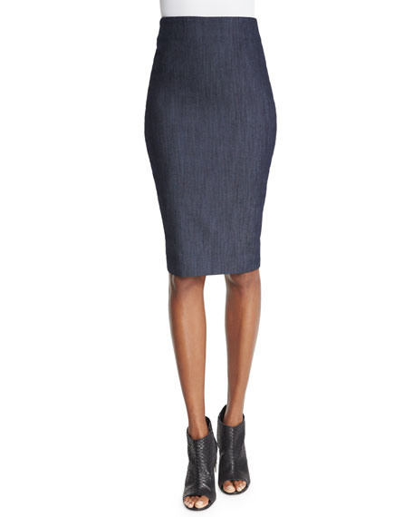 Aisling High-Waist Pencil Skirt, Indigo
