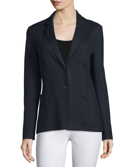 Gilbert Wool Two-Button Blazer, Navy