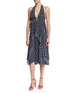 Leyland Zen Floral Halter Dress, Midnight