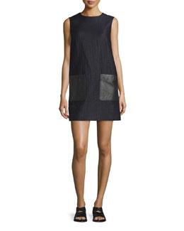 Decoy Sleeveless Jacquard Shift Dress, Dark Navy