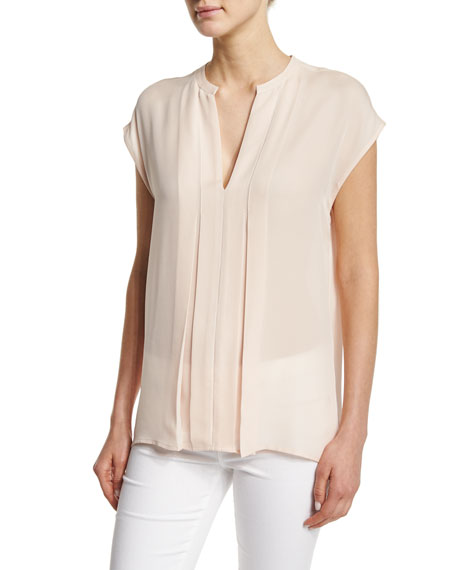 Vince Pintuck Popover Silk Top
