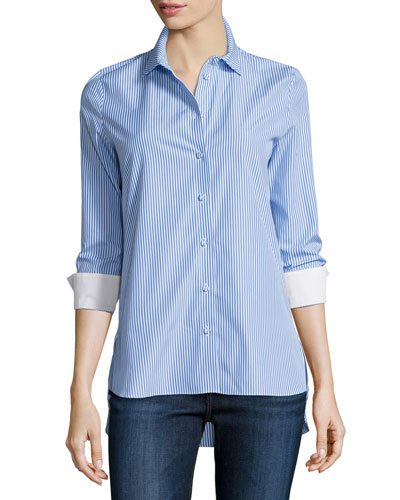 Rayures Long-Sleeve Striped Poplin Top, Blue/White