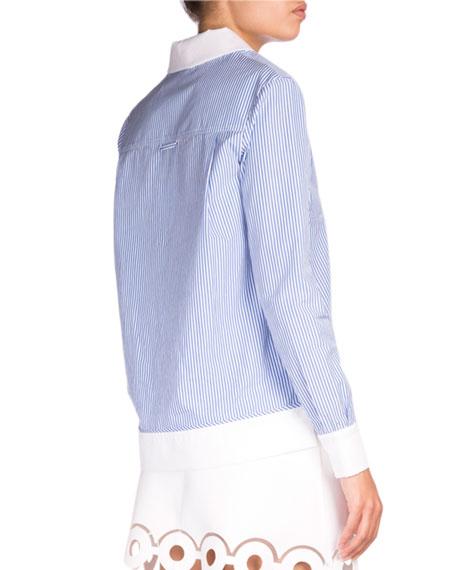 Striped Contrast-Trim Poplin Shirt, Blue/White
