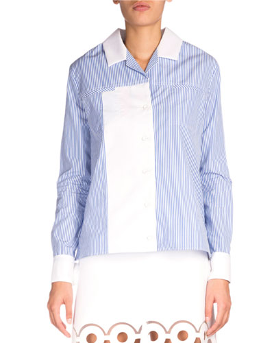 Striped Contrast-Trim Poplin Shirt, Blue/White