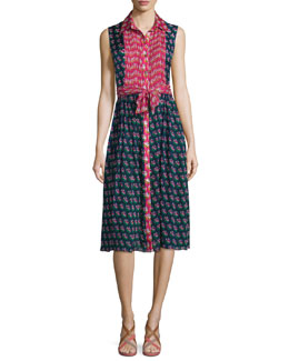 Nieves Zen Floral A-Line Dress, Pink/Midnight