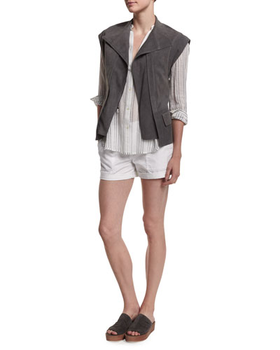 Cap-Sleeve Nubuck Leather Vest