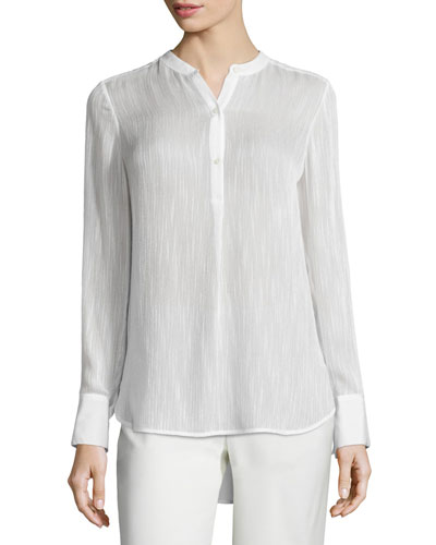 Textured Silk-Blend Blouse