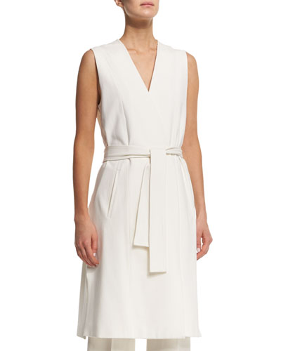 Sleeveless Side-Slit Wrap Vest