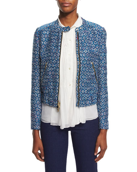 Buckley Textured Zip-Front Moto Jacket, Atlantis Blue