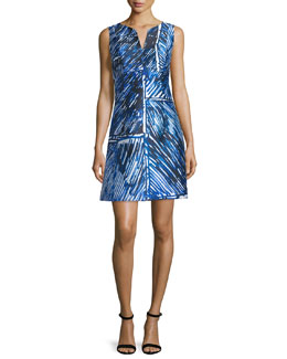 Sleeveless Split-Neck Printed Dress, Blue