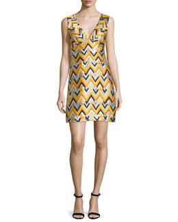 Bridgette Sleeveless V-Neck Chevron Dress, Aqua/Multi