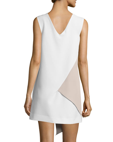 Sleeveless Asymmetric Colorblock Dress, White/Stone