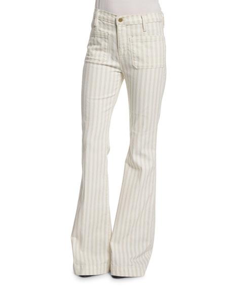 FRAME Le Bardot Striped Flare-Leg Jeans, Cypress