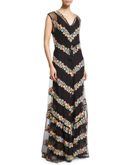 Sakile Floral-Chevron Maxi Dress, Black