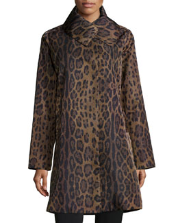 Leopard-Print Water-Repellent Coat