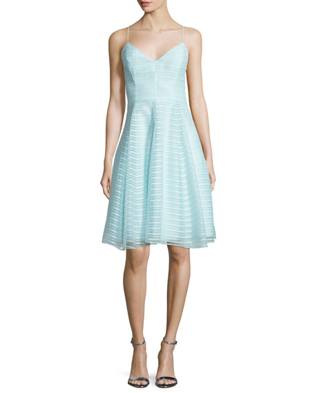 Sleeveless Textured-Stripe Dress, Foam