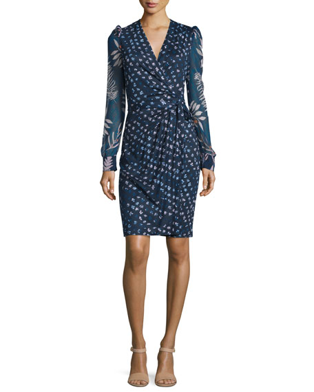 3/4-Sleeve Printed Wrap Dress, Daisy Indigo