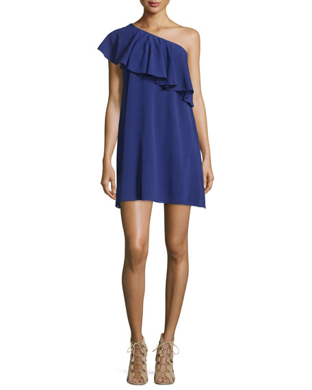 Francie One-Shoulder Ruffle Mini Dress, Blue