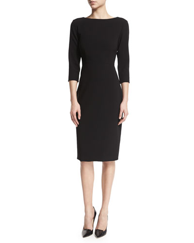 Varetta Admiral Crepe Sheath Dress, Black/Eggshell