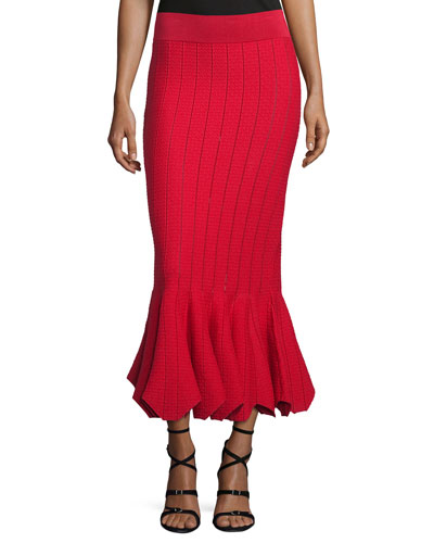 Striped Stretch Trumpet Skirt, Red