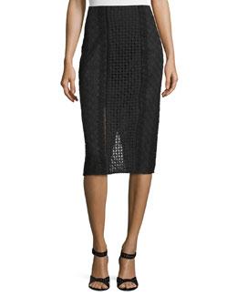 Lace Crochet Pencil Skirt, Black