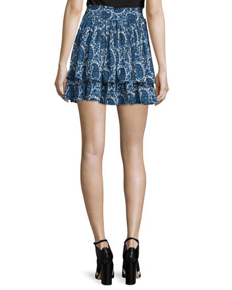 cda2a121be Derek Lam 10 Crosby Tiered Silk Paisley Mini Skirt, Blue