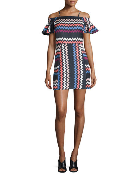 Chevron Cold-Shoulder Mini Dress, Multicolor
