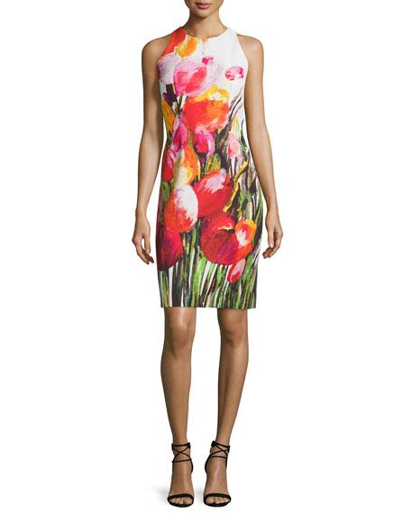 Carmen Marc Valvo Sleeveless Floral-Print Sheath Dress