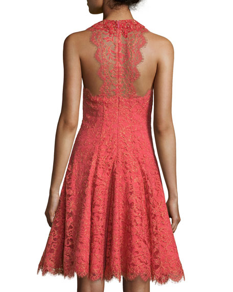 Sleeveless Halter Metallic Lace Cocktail Dress