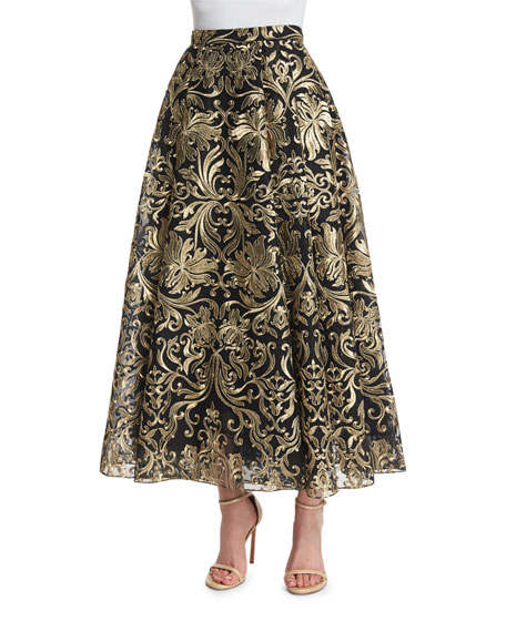 Marchesa Notte Embroidered Voluminous Midi Skirt