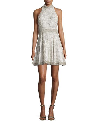 Hollie Embellished Fit-&-Flare Dress, Off White