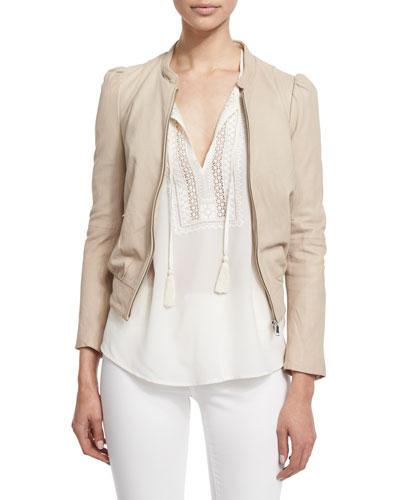 Oshie Soft Leather Cropped Jacket