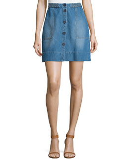 Sorren Button-Front Denim Skirt