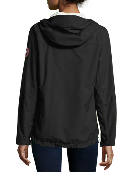 Alderwood Zip-Front Hooded Shell, Black/Silver Birch