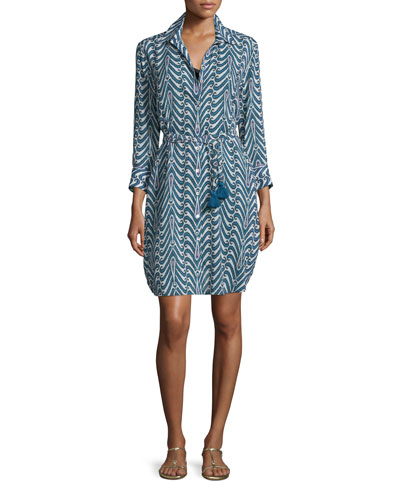 Taline Printed Crepe Shirtdress