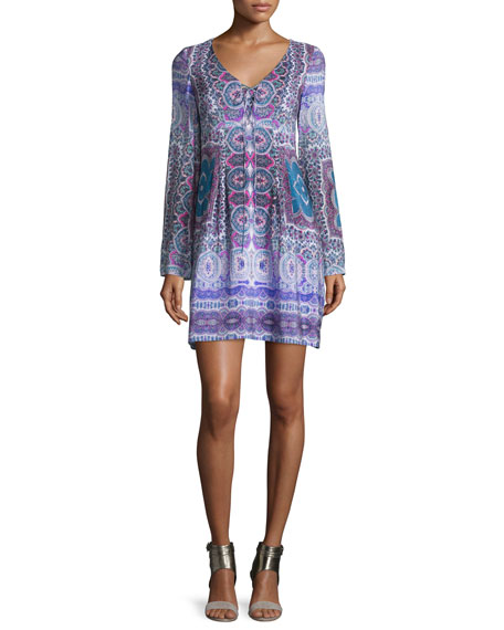 Long-Sleeve Paisley Silk Scarf Dress, Blue/Purple/Multi