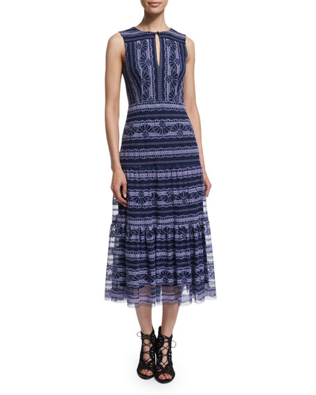 Sleeveless Lace-Embroidered Midi Dress, Blue/Purple/Multi