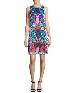 Sleeveless Floral-Print Sheath Dress, Red/Multi