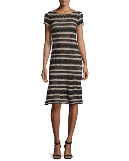 Short-Sleeve Chevron-Striped Dress, Black/Camel