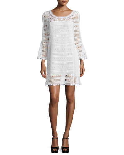 Long-Sleeve Lace Dress, White