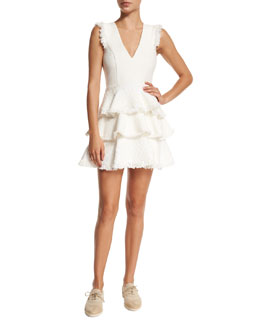 Sleeveless Zlata Tiered Raffia Dress, White