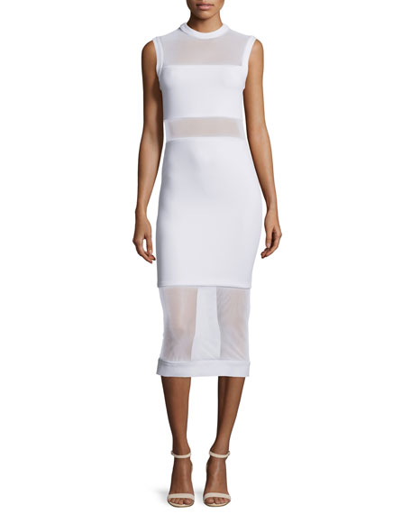 Karman Sleeveless Mesh-Trim Midi Dress, White