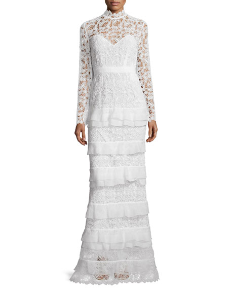 Self-Portrait Primrose Long-Sleeve Tiered Lace Gown, White
