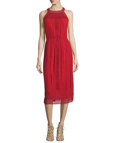 Dance Halter Eyelet Dress, Brick Red
