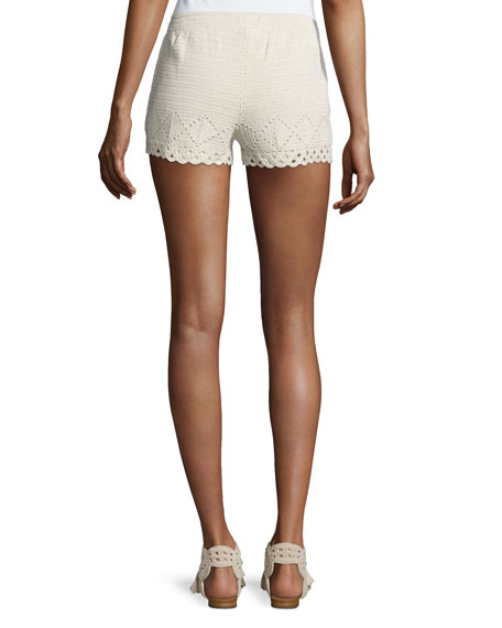 Maera B Crocheted Drawstring Shorts